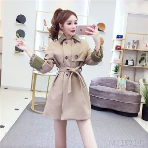 Solid color double-breasted trench coat women's waist was thin