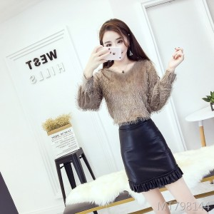 Wool sweater sexy bag hip leather skirt two sets of tide