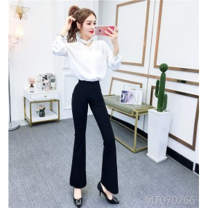Halter-neck pearl button shirt + flared pants