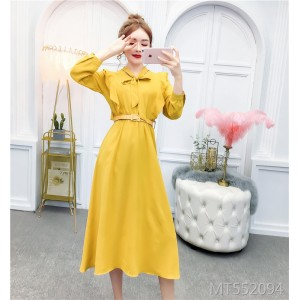 Fashionable high waist slim dress with fungus