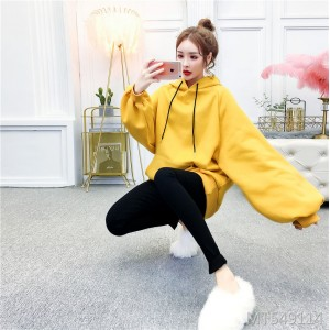 Lantern sleeve solid color hooded plus velvet sweater + high waist pants