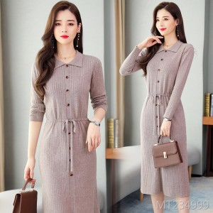 New trendy long over-the-knee bottom dress with coat