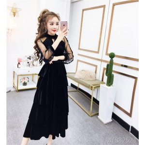 Velvet dress bow layer cake dress