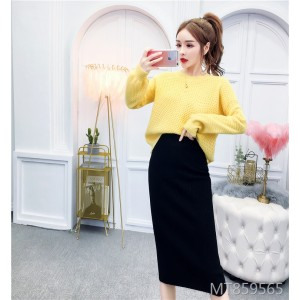 Pure color sweater + knitted skirt suit