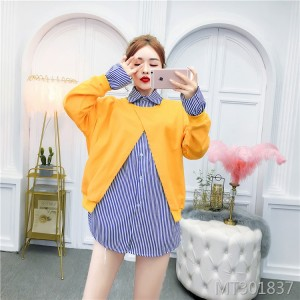 New loose fake two-piece striped shirt stitching sweater