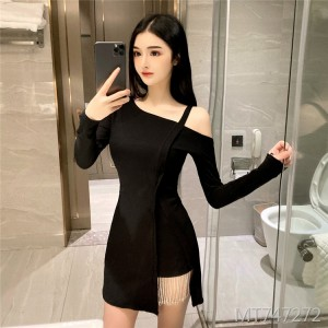 Sexy One Shoulder Long Sleeve Irregular Dress