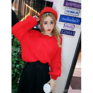 Loose Lantern Sleeve Sweet Student Knit + Net Gauze Skirt Set