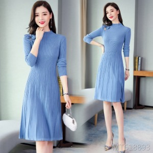 Blue Slim Outerwear Sweater Dress