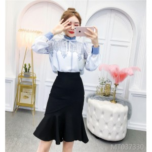 Funky lace-up chiffon shirt + high waist hip skirt women