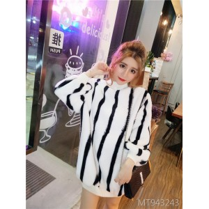 Striped leopard plush loose midi sweater fleece dress