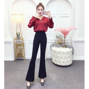 Suit collar top + flared pants