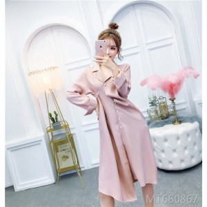 Multi-Purpose Suit Collar Asymmetric Button Chiffon Dress