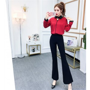 Contrast Long Sleeve Shirt + Flared Pants