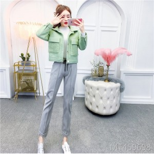 Thick Lamb Fur Short Jacket + High Waist Harem Pants