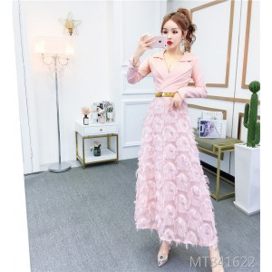 Xiaoxiangfeng Slim Slim Thin Feather Dress Dress Belt