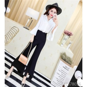 V-neck large sleeve top + big-leg pants suit