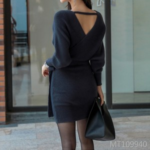 Celebrity slim fit slim bat sleeve dress