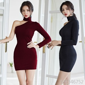 Slim Thin Shoulder Dress Sexy Temperament Goddess Fan Clothes
