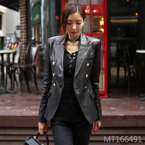 Suit collar shirt matte fashion personality European station small leather women short