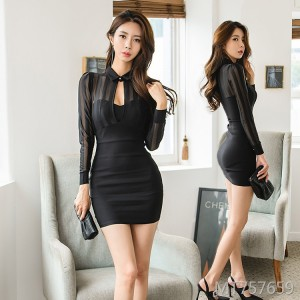 Sexy mesh stitching slim fit hip dress