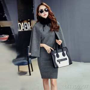 Woolen coat shawl coat trench coat fur collar autumn and winter new dress