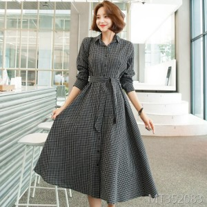 chic long-sleeved plaid waist tie Korean shirt long