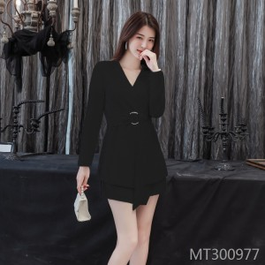 V-neck blazer women irregular shorts two-piece tide