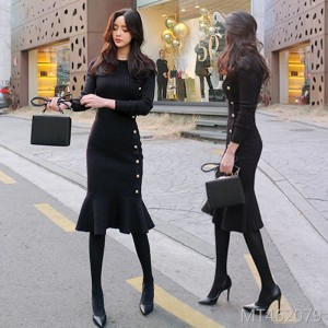 Slim-fit hip ol mid-length sweater base skirt