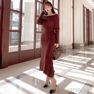 New temperament twist bottoming skirt long sleeve knitted skirt