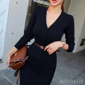 Slim-fit hip buttocks long-sleeve sweater skirt