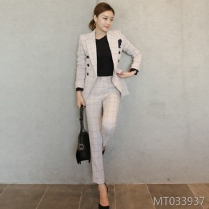 Fashion lapel double-breasted slim suit two-piece suit