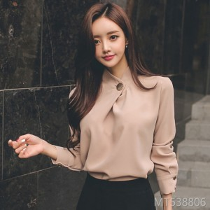 Women's style tops women's bottoming shirt long sleeve stand collar wild