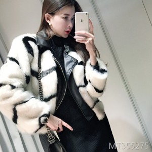 New style mink fur fox fur rabbit fur pu leather stitching coat