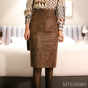 Winter new style over-the-knee suede skirt