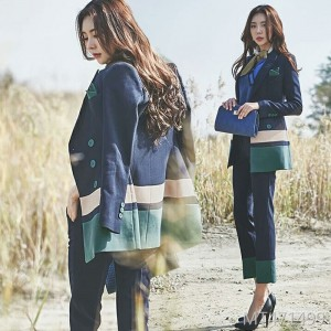 Korean fashion casual hit color suit