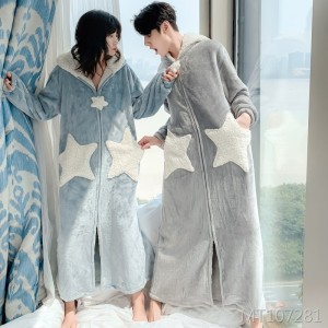 Flannel Nightgown Lady Coral Fleece Couple Pajamas