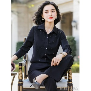 2019 autumn new temperament long-sleeved shirt work clothes OL slim professional suit
