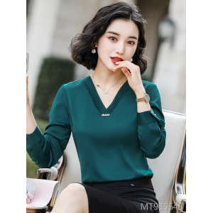 Loose western style v-neck long sleeve shirt professional top