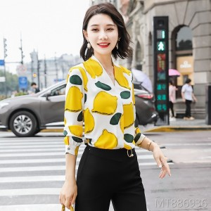 Autumn Long Sleeve Loose Floral V-neck Top Chiffon Shirt