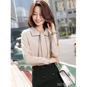 2019 new design sense niche western style ribbon autumn shirt
