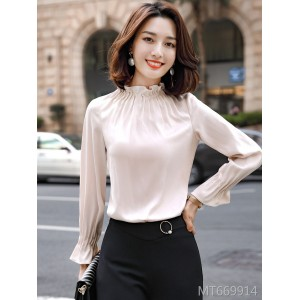 Temperament autumn and winter bottoming shirt women fashion round neck shirt