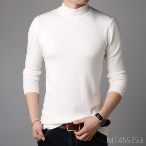 Fashion casual Korean Slim solid color half turtleneck bottoming shirt men