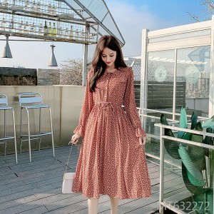 2020 spring small floral chiffon dress doll collar waist retro skirt women