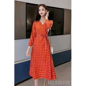Red Plaid Dress V-neck Waist Waist Thin