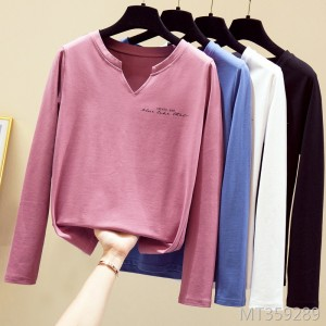 Casual small open tube V-neck cotton long-sleeved t-shirt women