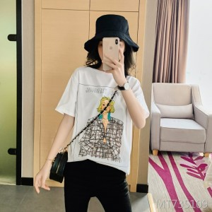 2020 summer women's cotton art comics loose short-sleeved T-shirt women