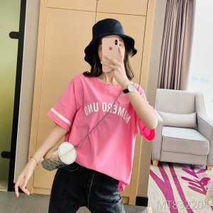 2020 summer women's Korean version of cotton loose college short-sleeved T-shirt women