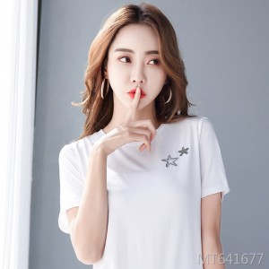 2020 summer new embroidery star short sleeve t-shirt women