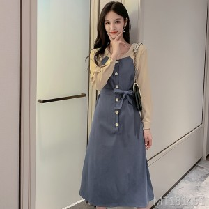 Korean panel stitching midi dress skirt skirt