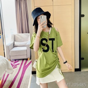 Mid-length Korean loose strapless drawstring hollow short-sleeved t-shirt women